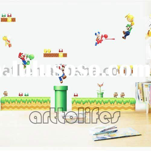 super mario game wall stickers,cartoon kids wall stickers