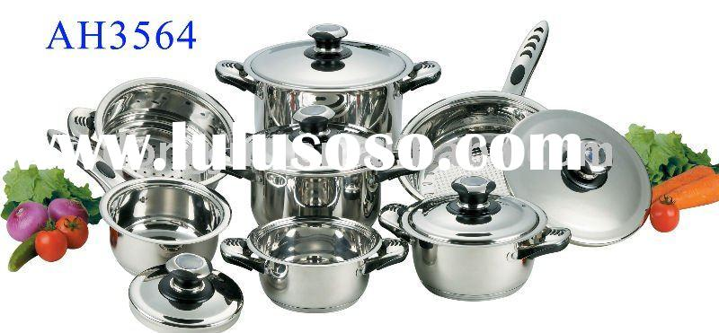 0.8mm 12PCS Wide edge Stainless Steel Cookware Set  DJA-3564