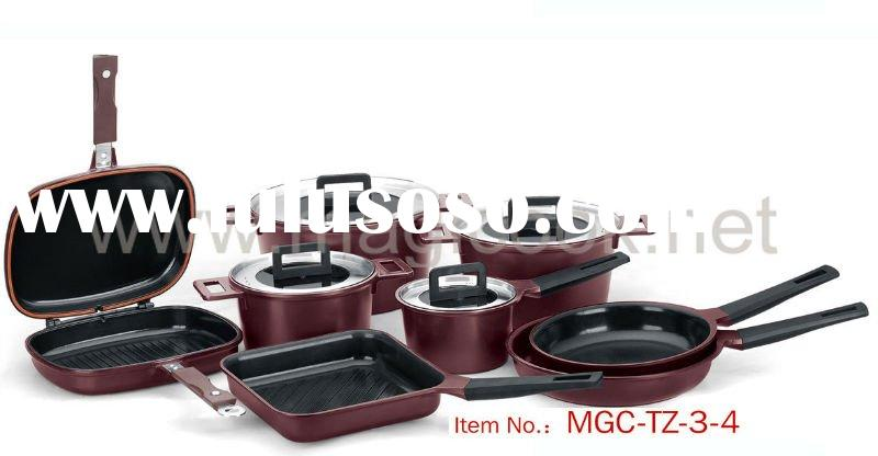12 pieces aluminium die-cast cookware set non stick coating