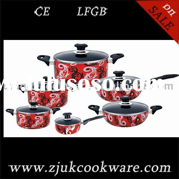 12pcs  Aluminium Non-stick best printing Cookware Set