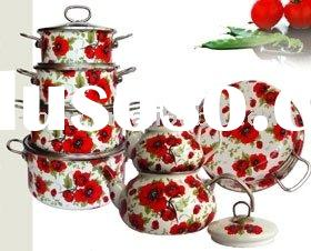 14pcs porcelain enamel non-stick cookware set & tea kettle KitchenWare w/glass lid decor