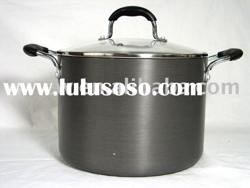 2pcs hard anodized aluminium stock pot/casserole/non-stick cookware set