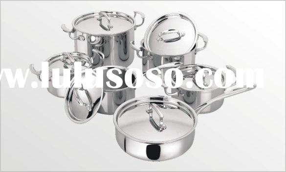 6 Piece cookware multi-ply clad stainless steel