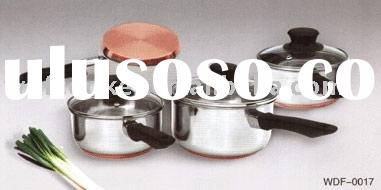 6pcs stainless steel copper base cookware set