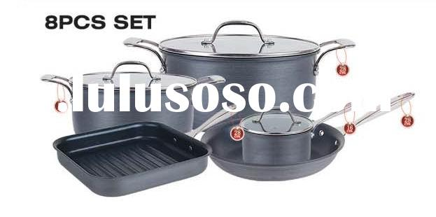 8 pcs hard anodized aluminum non-stick cookware set
