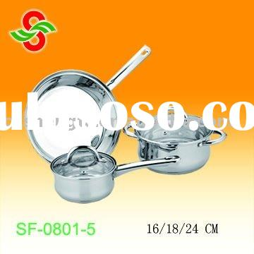 European style stainless steel cookware set 5pcs