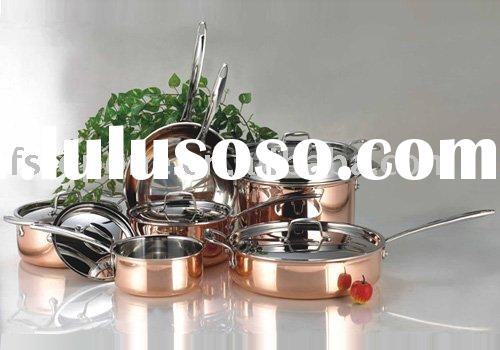 Stainless steel copper cookware set