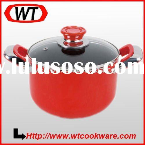 red aluminum nonstick stock pot,soup pot,casserole with lid