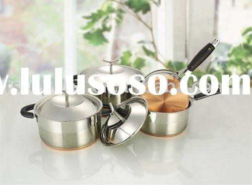 stainless steel cookware set with silicone handle