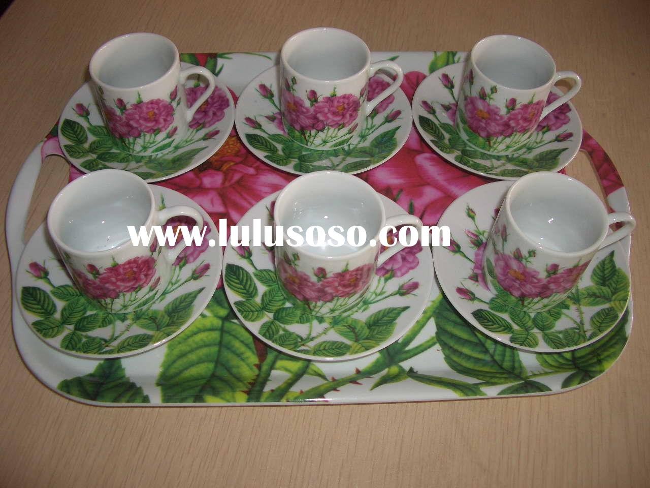 13 pcs tea set: S/6 porcelain coffee cup and saucer with 1 plastic plate in color box