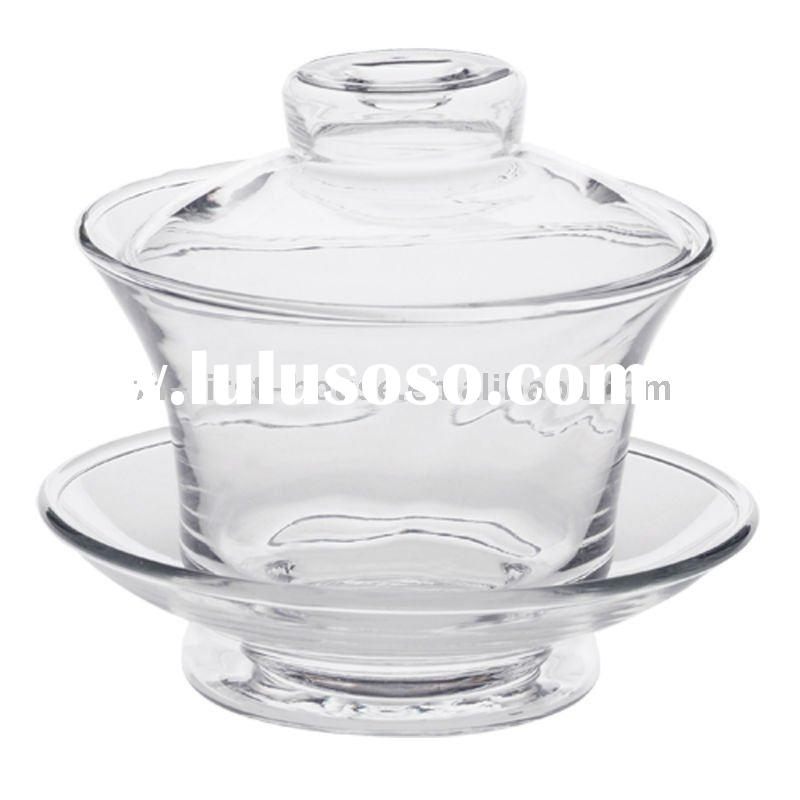 Glass Chinese Tea cup set w/saucer+cover
