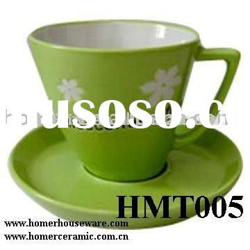 HMT005 Green Ceramic Coffee Cup And Saucer Set