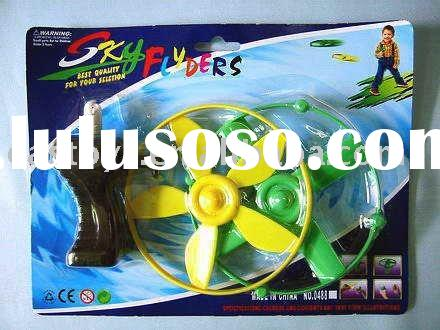 PULL STRING FLYING SAUCER , plastic toy , game toy