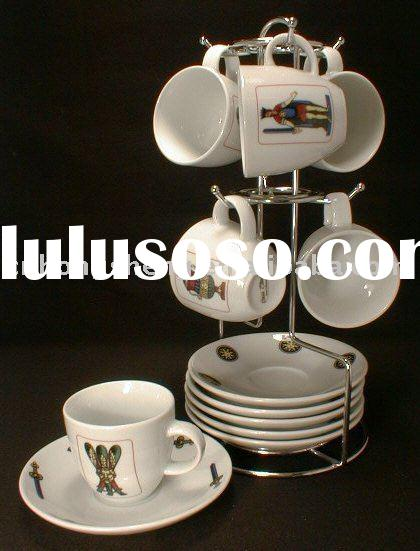 Porcelain Cup and Saucer with Rack