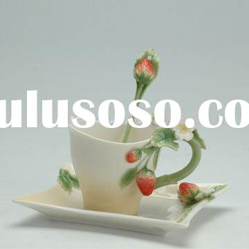 Strawberry Design tea cup and saucer