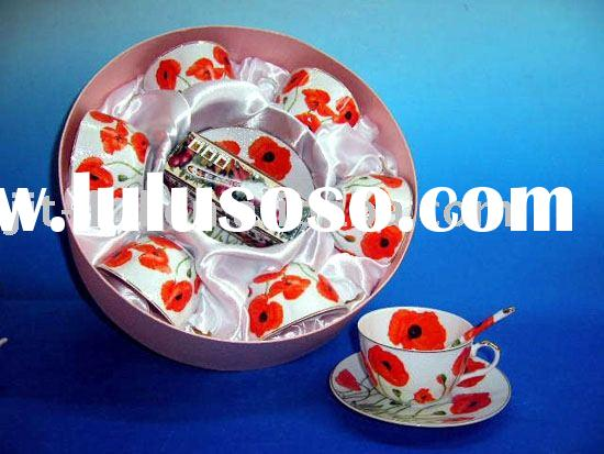 THIN PORCELAIN CUP AND SAUCER SET WITH SPOON