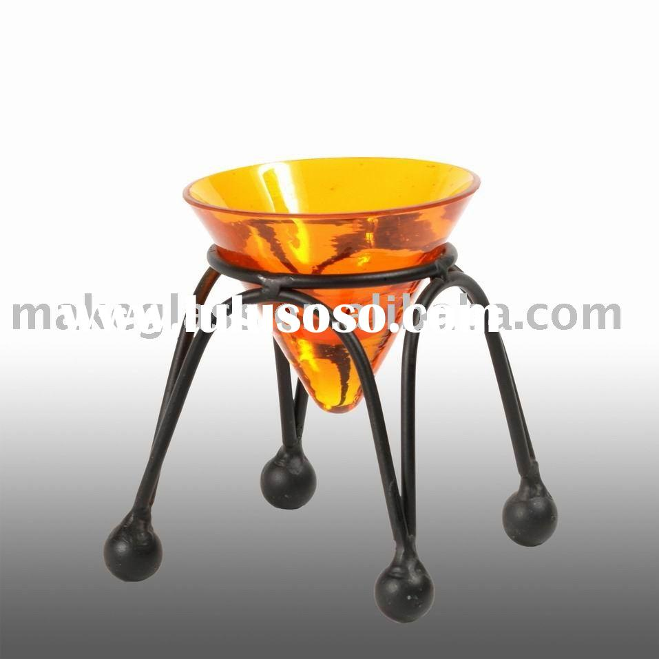 cone-shape colored glass candle holder with iron stand