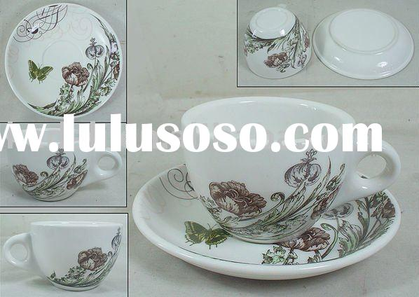 porcelain cup and saucer with flower decoration