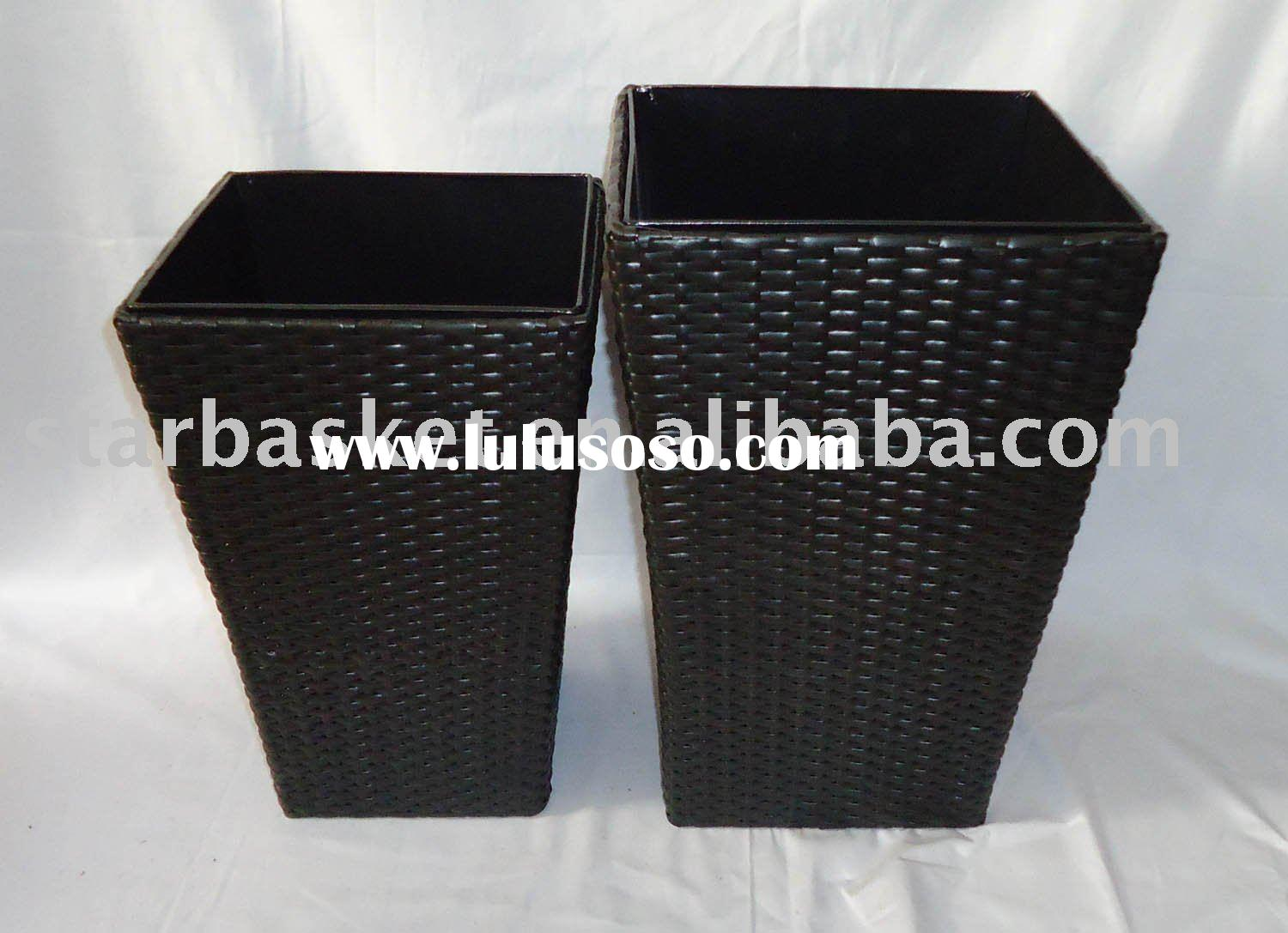 square plastic planter pot with zinc pot inside 10K1434