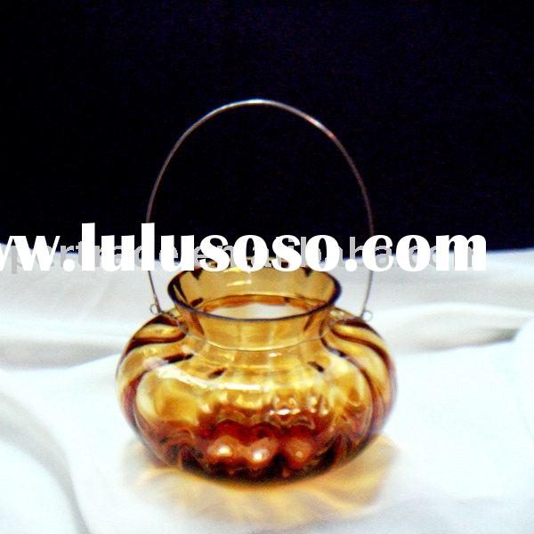 Amber hanging votive glass candle holder