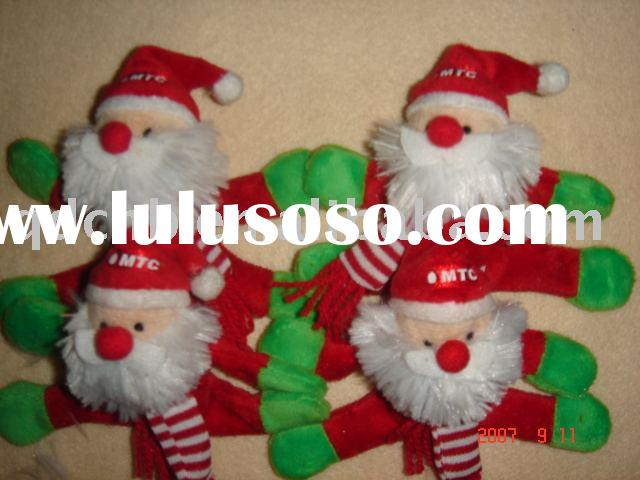 Mini Plush Magnet Santa Claus for Christmas Decoration Promotional Gift