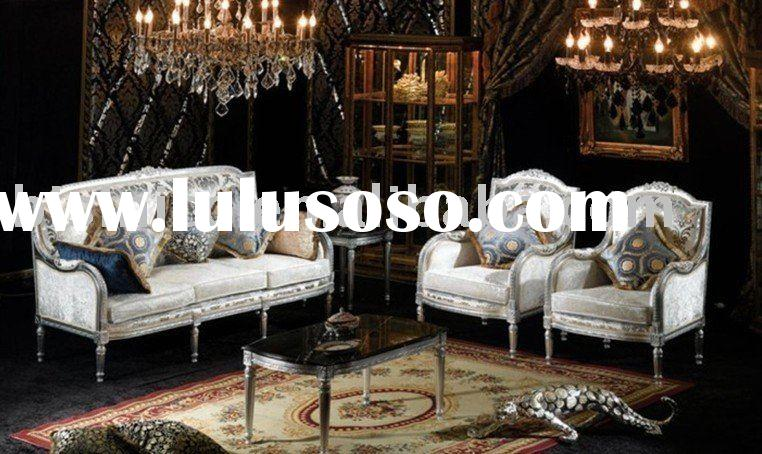 New French sofa set, white color, three seat sofa, tea table, living room furniture