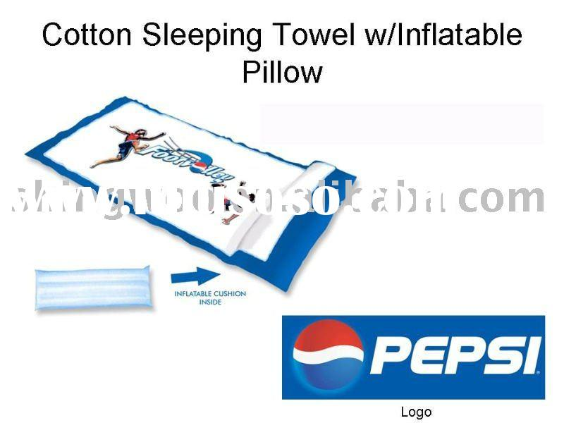 beach towel with inflatable pillow