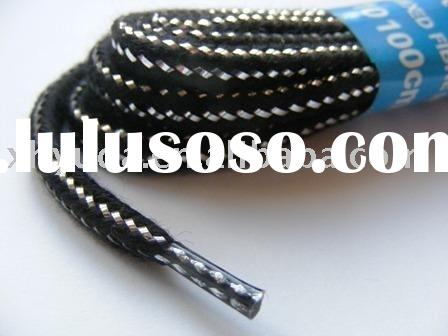 Black & Silver Round Shoelaces
