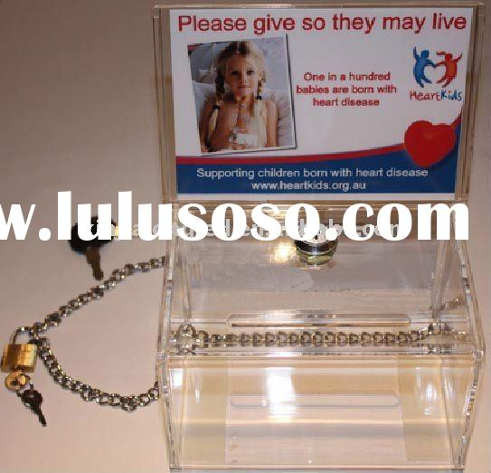 Water Clear Acrylic Donation Box With Lock and Chain