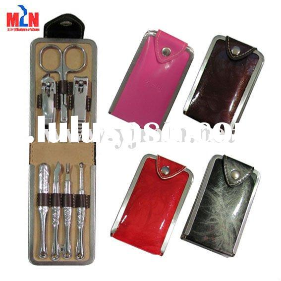 innovative nail polishing tools, colorful leather manicure sets, women promotion set