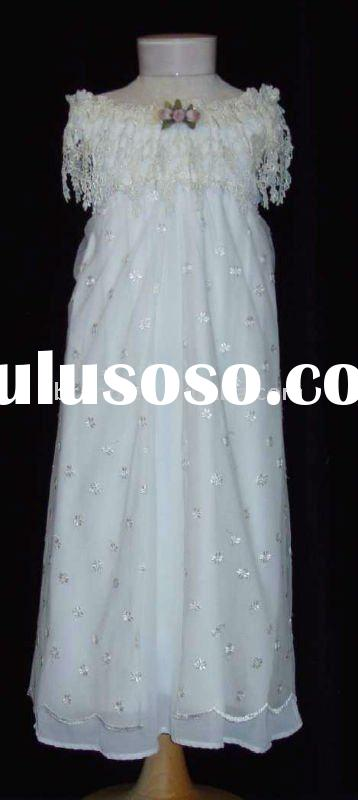 A Line Satin Beautiful White Flower Girl Dresses with Bow Accent