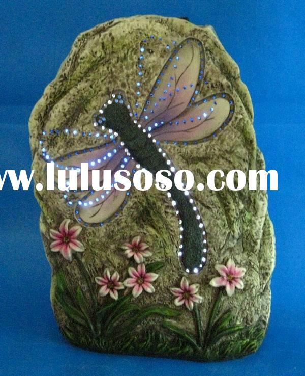 dragonfly embed garden stone decoration with solar fiber optic light