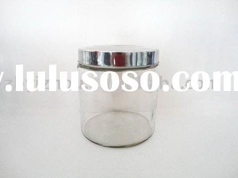 High Quality Jumbo Glass Container with stainless steel lid
