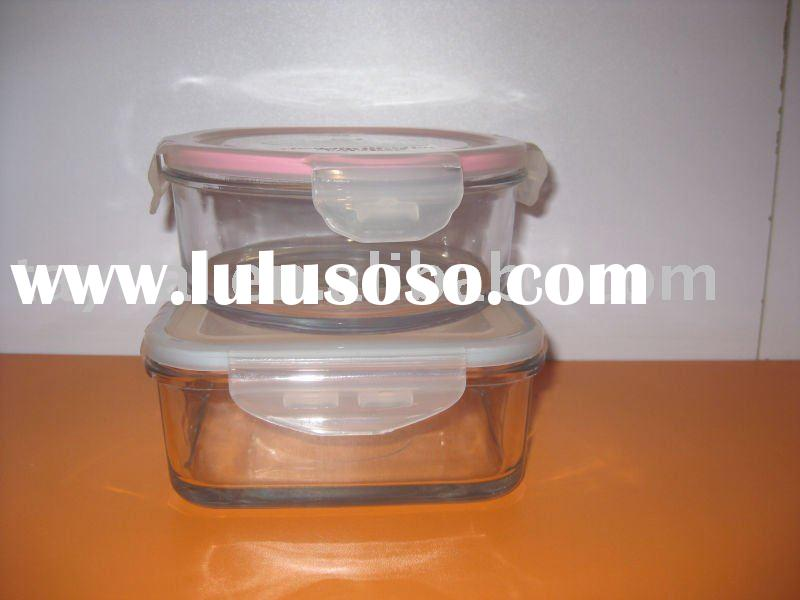 glass food container, glass box, fresh container