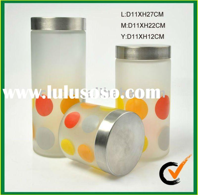 glassware  glass food storage container  with decal and metal cover
