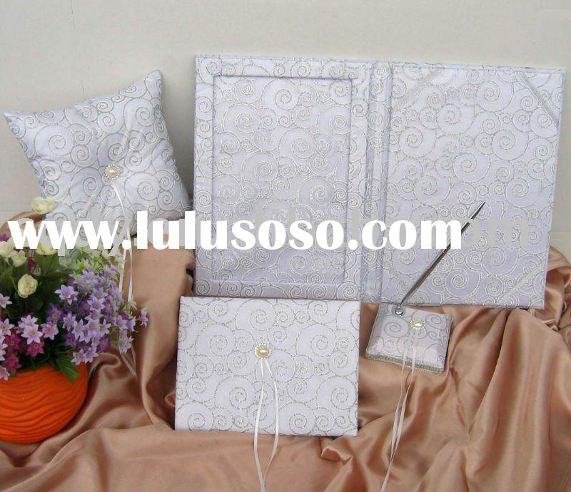 2011 Elegant Wedding Supply/Silver Circle Stripe wedding guest book/Ribbons wedding ring pillow/Wedd