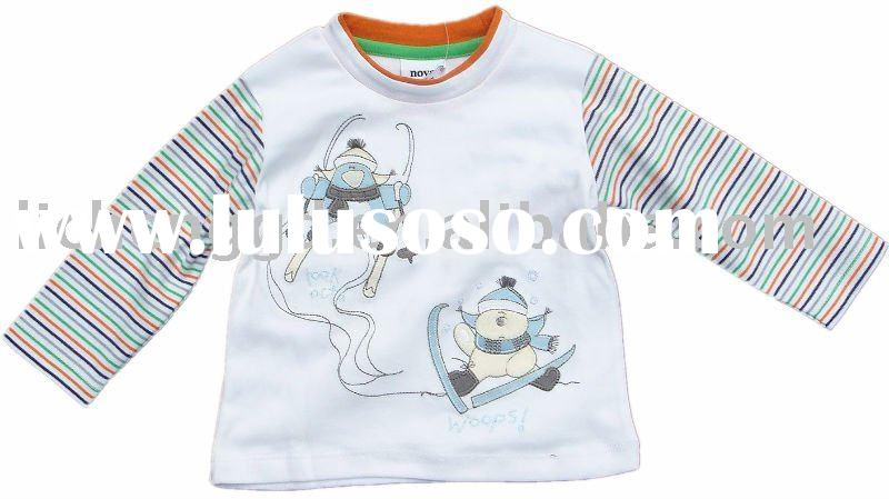 Boy' s spring/fall knit top/kids garment stock  A443#White