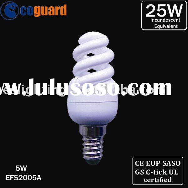 Energy Saving Lamp Mini Full Spiral CFL Bulb 5W with E14 Soldering Free Base (EFS2005A)