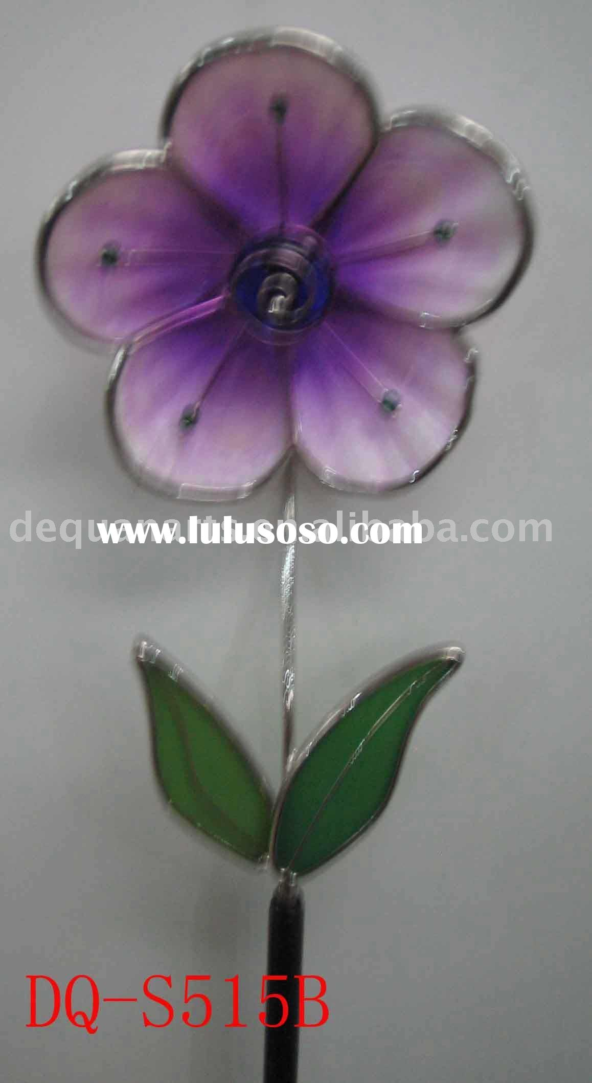 Stained glass flower stake( craft, garden decoration, art)