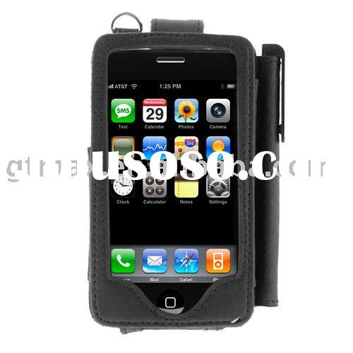 for iPhone 3G/3GS Leather Case With Stylus Pen Holder - Black