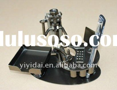 metal craft figurines with pen holder business card stand