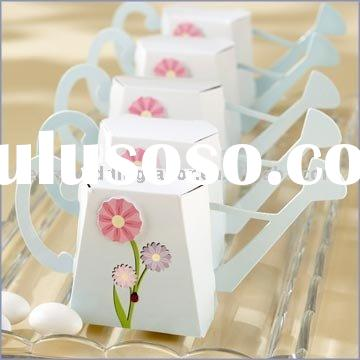 wedding favor--Garden Watering Can Favor Box Kit with Flower Appliqu