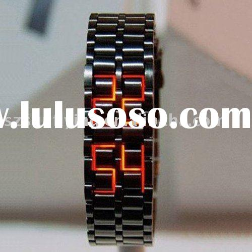 Newest fashion Lava style iron samurai red light metal LED watch (SFL-GFW002)