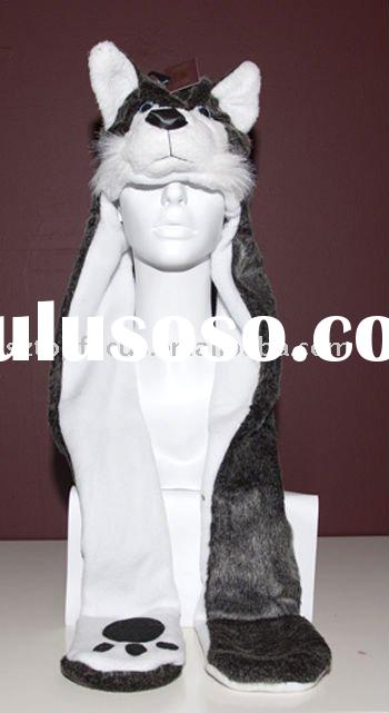 PLUSH ANIMAL HEAD HAT CUTE WOLF ADULT ANIMAL HAT AND SCARF