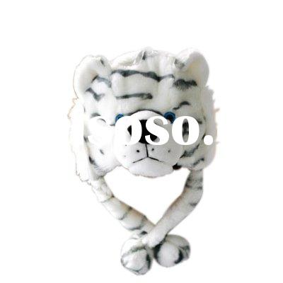 black and white tiger shape plush hats  winter hat animal shape