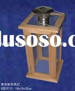 wood Lantern W/stainless tin top