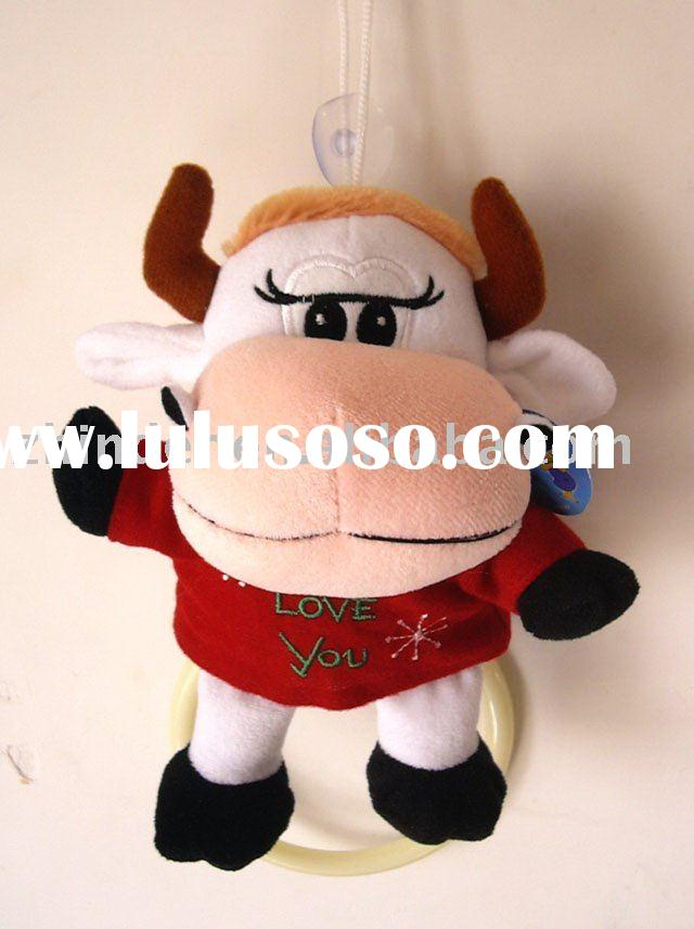 Plush cow towel ring, stuffed animals towel holder, plush animals towel holder, stuffed cow towel ri