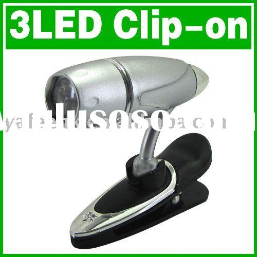Clip On 3 LED Book Light Adjustable Reading Lamp