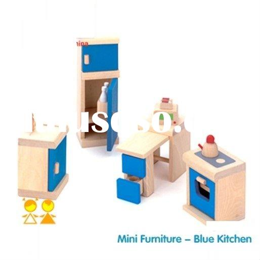 Wooden learning toy educational wooden toy furniture set, my blue kitchen