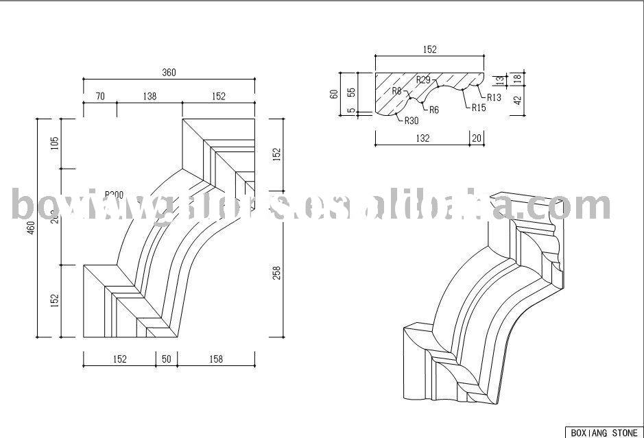 stone fireplace CAD drawing